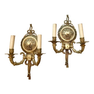 1930s French Brass and Gilt Sconces - a Pair For Sale