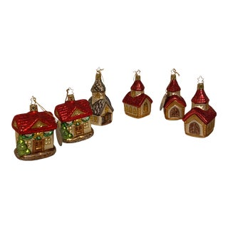 Inge Church and House Collection Glass Ornaments - Set of 6 For Sale