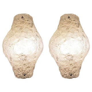 Pair of Murano Glass Sconces or Flush Mounts For Sale