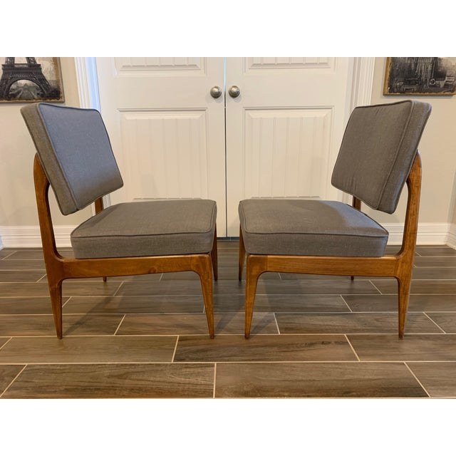 Mid-Century Modern Pair of Mid-Century Gray Linen Chairs For Sale - Image 3 of 11