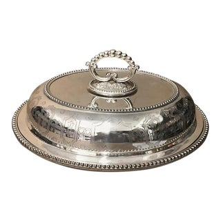 1870s British Victorian Engraved Silver Plated Entree Dish For Sale