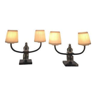 Pair of French Art Deco Lamps by Jacques Adnet For Sale