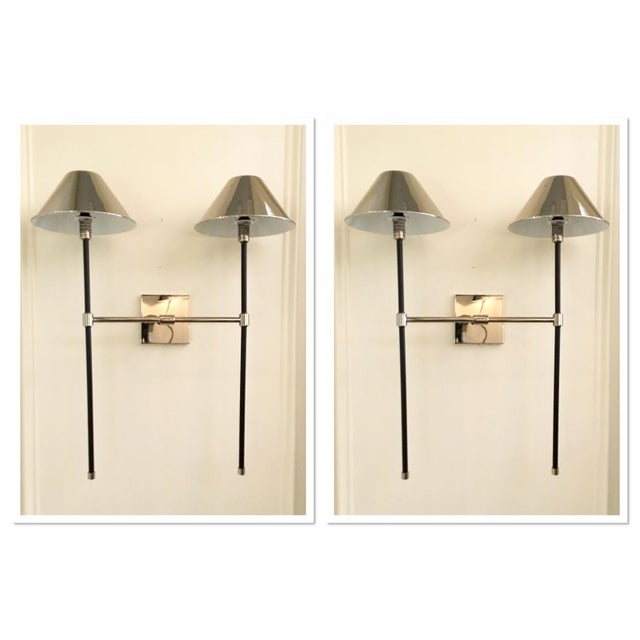 Metal Arteriors Modern Polished Nickel and Bronze Finished Havana Sconces - A Pair For Sale - Image 7 of 7