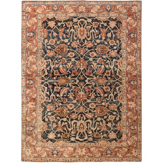 Small Size Antique Persian Tabriz Blue Background Rug - 4′8″ × 6′5″ For Sale