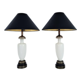 Art Deco White French Opaline Glass and Brass Greek Key Table Lamps - a Pair - Mid Century Modern MCM Hollywood Regency