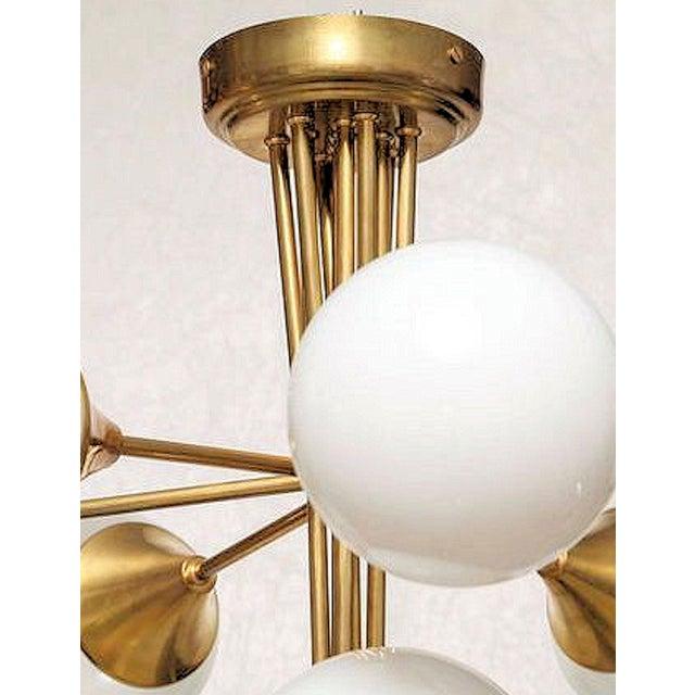 Art Deco Mid Century Modern 10 Lights Chandelier, Attr to Stilnovo, Italy, 1960s For Sale - Image 3 of 6