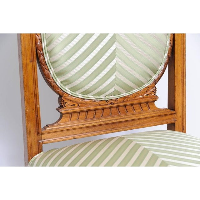 Set of Six English, Edwardian Style Dining Side Chairs with Green Upholstery Fabric - Image 5 of 10