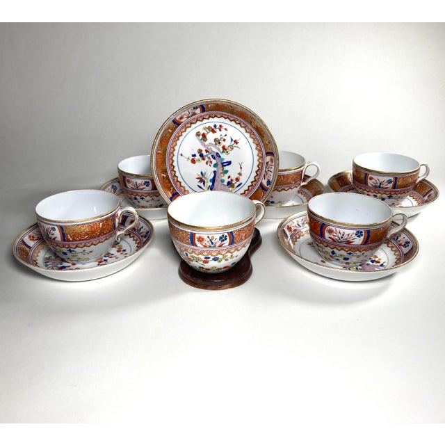"""Red Early 19th Century English Georgian Spode """"Kakiemon"""" Tea / Coffee Cups and Saucers - Set of 6 For Sale - Image 8 of 8"""