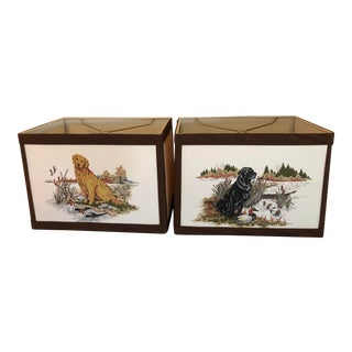 Lamp Shades Depicting Hunting Dogs - a Pair For Sale