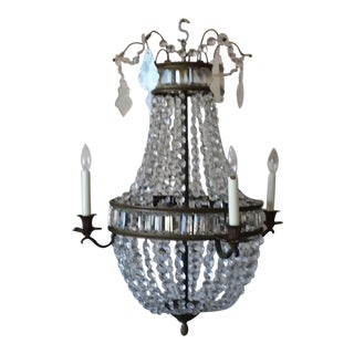 French Style Antique Bronze and Crystal Chandelier Chandelier With Panels
