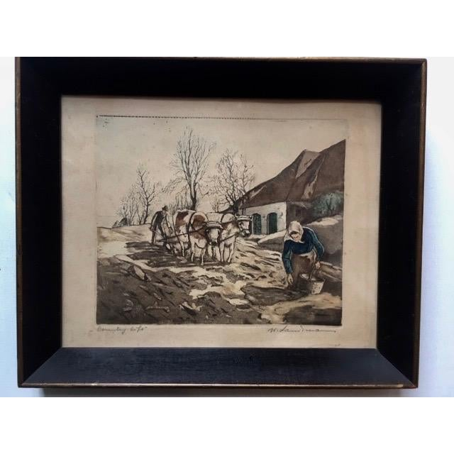 """Brown Early 20th Century Antique W. Landsman """"Country Life"""" Hand-Colored Lithograph Print For Sale - Image 8 of 8"""