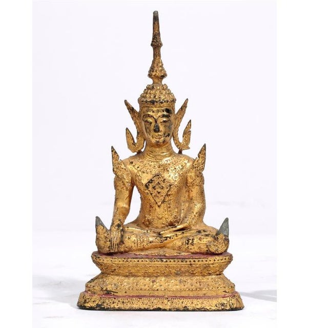 Asian Antique Southeast Asian Gilt Metal Seated Buddha For Sale - Image 3 of 3