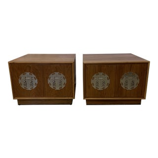 Solid Walnut Asian Chest End Tables -A Pair For Sale