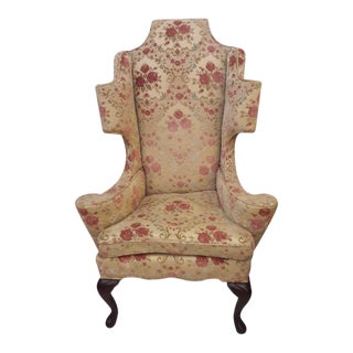 Early 20th Century Carved Mahogany Legs Wing Back Chair For Sale