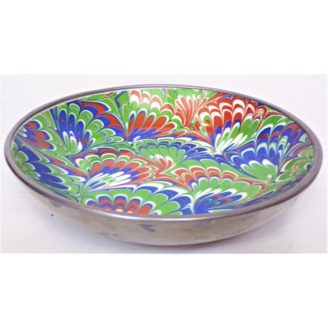 Chinoiserie Vintage Neiman Marcus Marbleized Porcelain & Pewter Bowl For Sale - Image 3 of 5