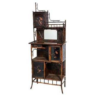 Antique English Bamboo and Lacquer Cabinet For Sale