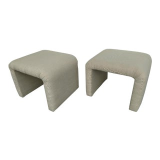 Waterfall Upholstered Stools, 1970's Vintage - a Pair For Sale