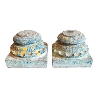 19th Century Architectural Cast Stone Column Bases - a Pair For Sale