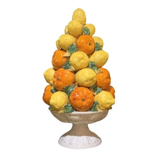 Ceramic Fruit Topiary Centerpiece From Italy For Sale