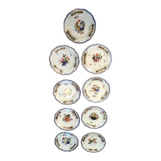 19th Century AntiqueMeissen Porcelain Plates-Set Of 9 For Sale