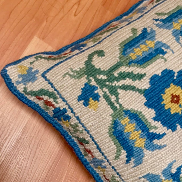1950s Shabby Chic Handmade Needlepoint Pillow For Sale In Los Angeles - Image 6 of 13