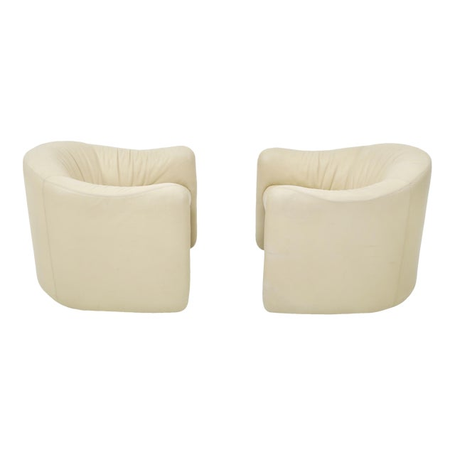 Leather Barrel Back Chairs, Metropolitan 1970's For Sale