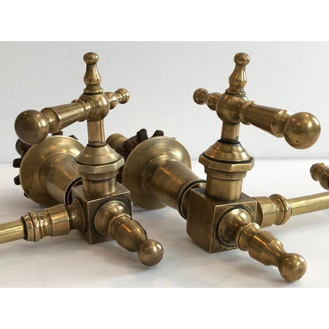 Antique French Brass Faucet Fixtures, Pair - Image 4 of 11