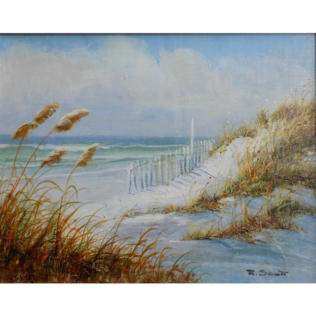 Dune by R. Scott. Original oil on canvas displayed in wood frame. Dimensions: 10.5 x 12.5
