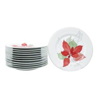 Vintage Block Poinsettia Salad Plates Designed by Mary Lou Goertzen - Set of 12 For Sale