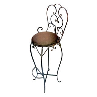 Scrolling Iron Bar Stool For Sale