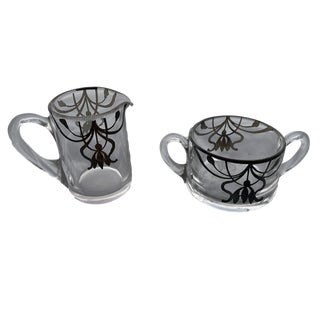 Mid 20th Century Glass Creamer and Sugar Bowl Set - 2 Pieces For Sale