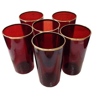 Ruby Red & Gold Rim Cocktail Glasses - Set of 6