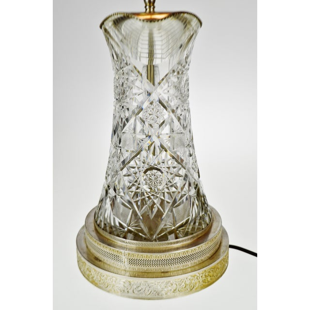 Glass Victorian Style Cut Glass Pitcher Table Lamp For Sale - Image 7 of 13