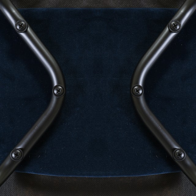 Saarinen Executive Armless Chairs in Navy Velvet, Obsidian Matte - Set of 6 For Sale - Image 12 of 13