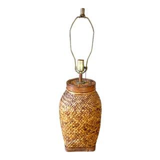 Vintage Basketweave Rattan Ginger Jar Table Lamp