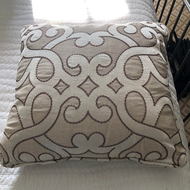 18 inch square. gorgeous neutral swirls 3 available includes inserts The Kravet and Suzani pillows in the last photograph...
