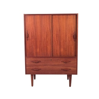 Vintage Teak Cabinet With Sliding Doors For Sale
