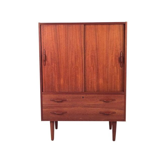 Vintage Teak Cabinet With Sliding Doors For Sale