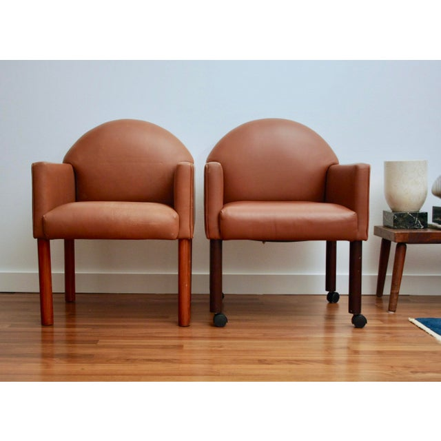 Postmodern Leather Chairs, Set of 2 For Sale - Image 4 of 11