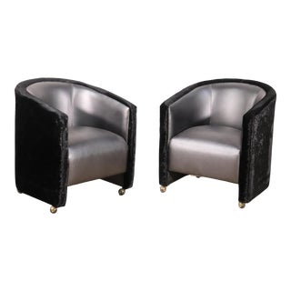 Unique Pair Upholstered Art Deco Style Modern Club Chairs For Sale