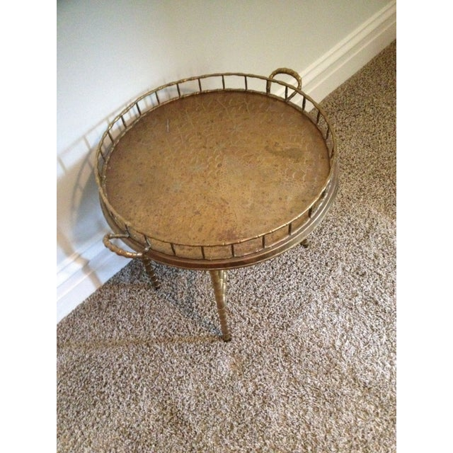 Antique Brass Bamboo Tray Table For Sale - Image 4 of 7