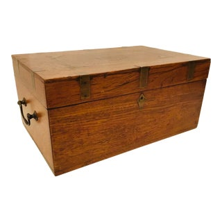 Traditional Antique Oak and Brass Inlay Box For Sale