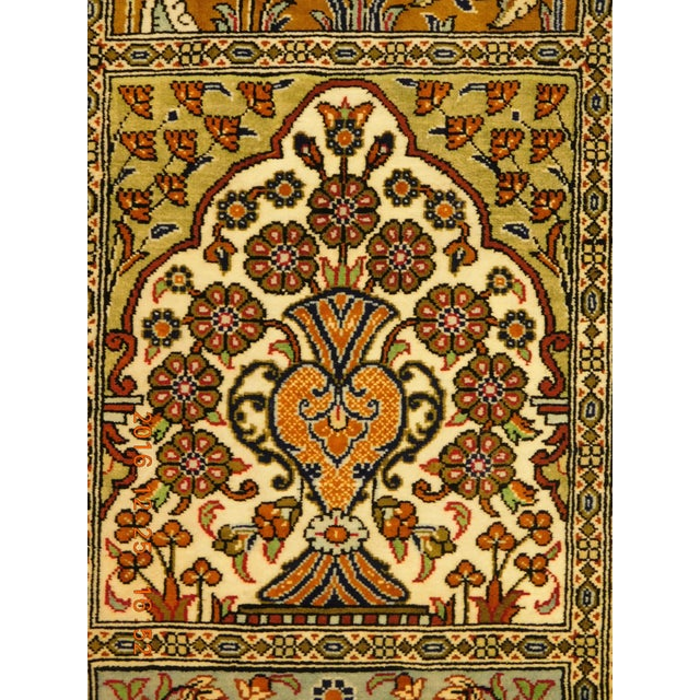 """Hand Knotted Pure Silk Persian Qom Rug - 4'10"""" x 4'10"""" - Image 5 of 9"""
