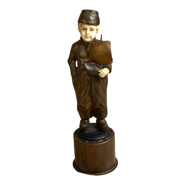 Late 19th Century Bronze Sculpture of Dutch Boy With Sailboat For Sale