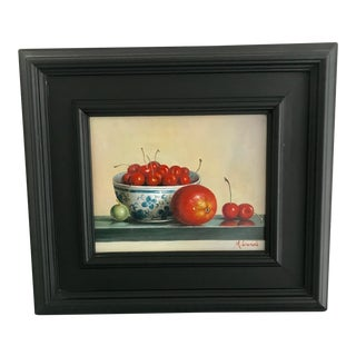 Contemporary Small Framed Cherries & Fruit Painting
