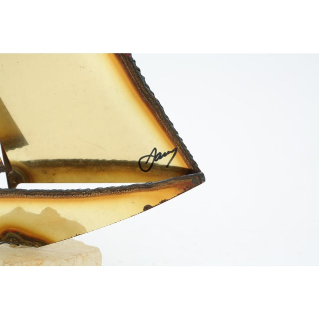 Brutalist Brass Sailboat by Mario Jason For Sale - Image 4 of 6