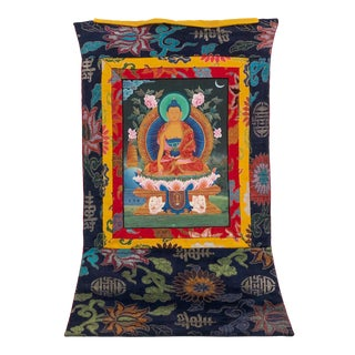 Antique Tibetan Thangka Wall Hanging - Turquoise Halo For Sale