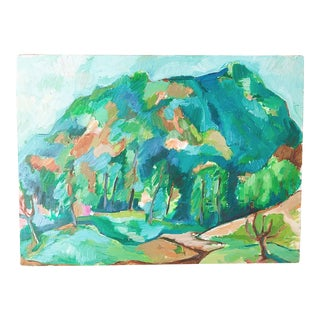 1970s Vintage Abstract Landscape Acrylic Painting For Sale