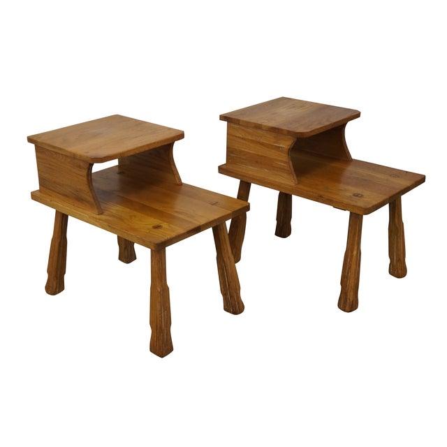Brandt Ranch Oak Rustic Step End Tables - Pair - Image 1 of 10