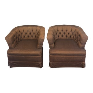 Vintage Satin Tufted Chairs - a Pair For Sale